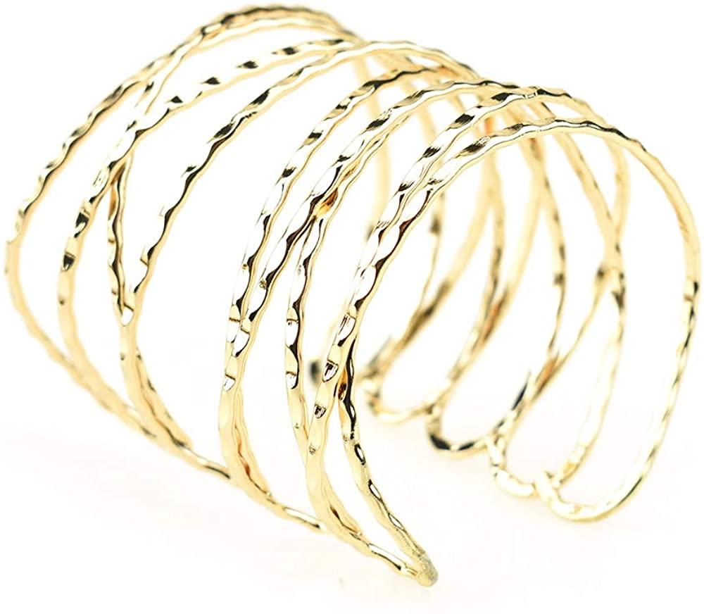 Homeford Gold Metal Textured Cuff Link Bracelet, 2-3/4-Inch