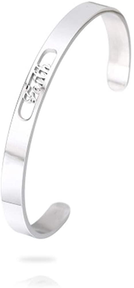 AsiaRhyme Bracelets for Women Fashion Faith Hollow Open Wide Cuff Bangles Bracelet Women Jewelry (Silver