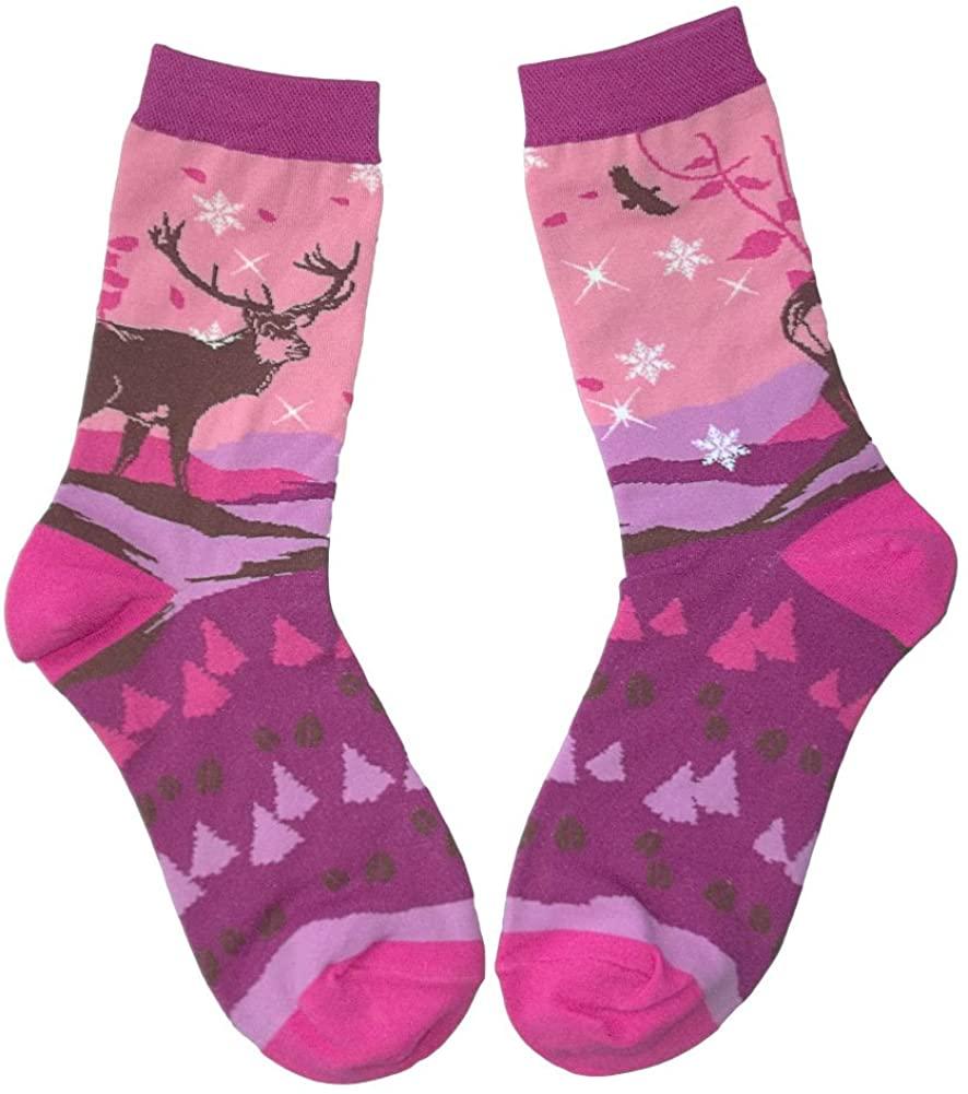 Joyful Elk Pastel Color Wildlife Art Socks Women's Size 8-11
