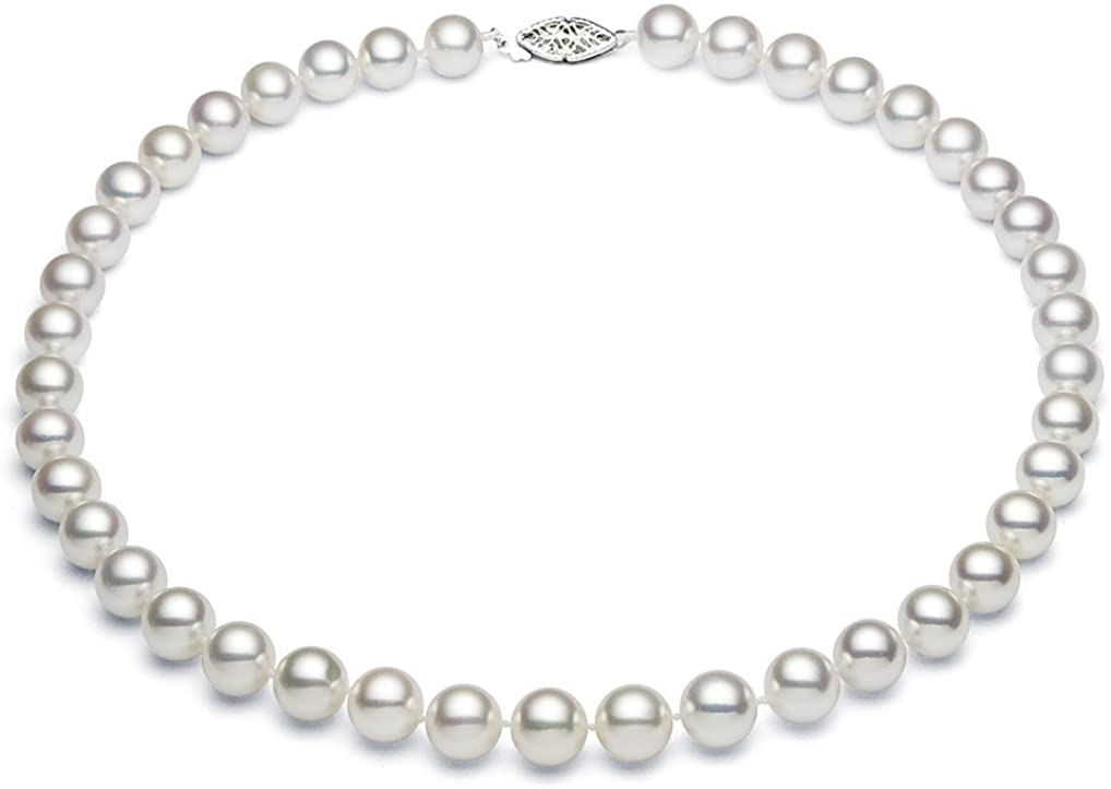 9.5-10.5mm 14k White Gold White Freshwater Cultured Pearl Necklace for Women AAAA Quality - PremiumPearl