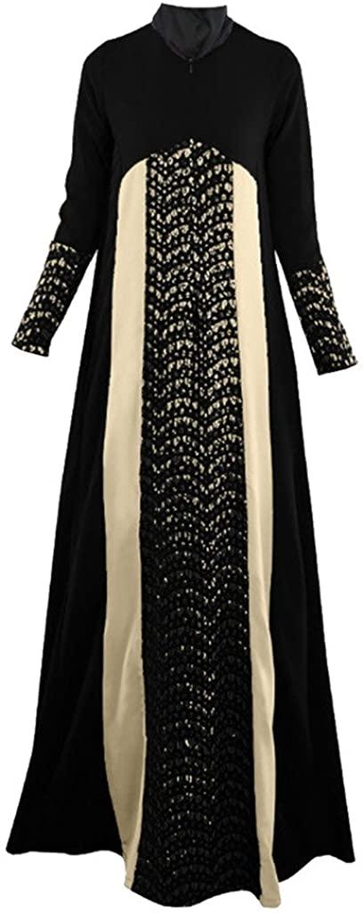 GladThink Women Arabian Traditional Muslim Loose Dress