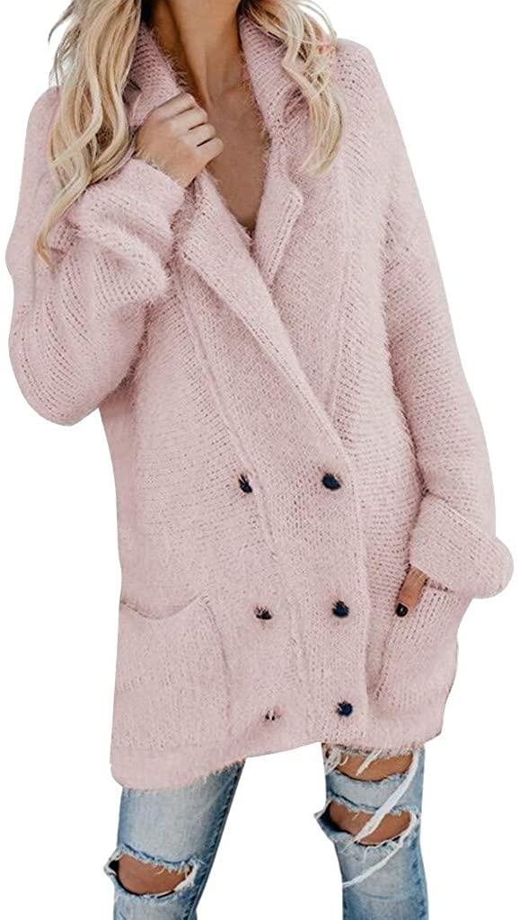VEFSU Fashion Outerwear Women Casual Fuzzy Jacket Open Front Hooded Cardigan Coat Pocket Button Tops