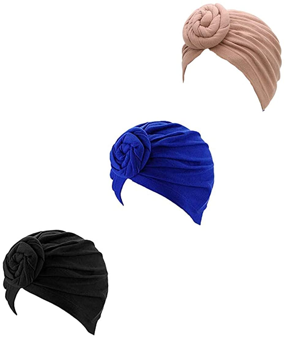 nonebrand 3 Pieces African Turban Headwrap Pre-Tied Bonnet Pattern Knot Chemo Beanie Cap Hair Loss Hat