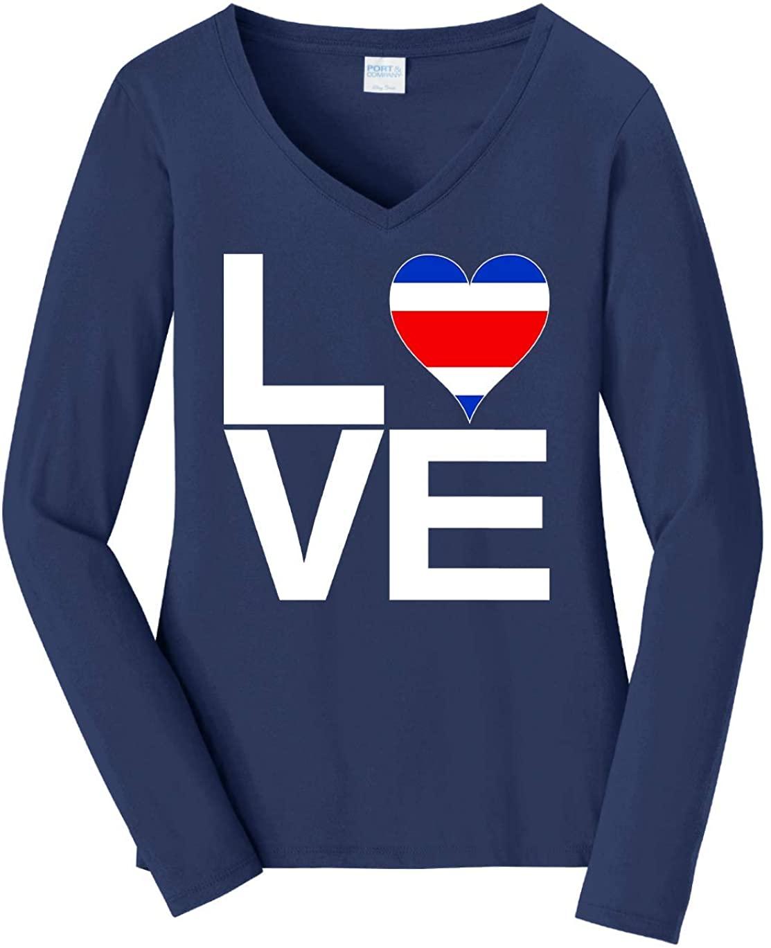 Tenacitee Women's Love Block Costa Rica Heart Long Sleeve T-Shirt
