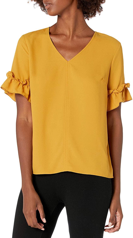 DHgate Brand - Lark & Ro Women's Florence Ruffle Short Sleeve V-Neck Top
