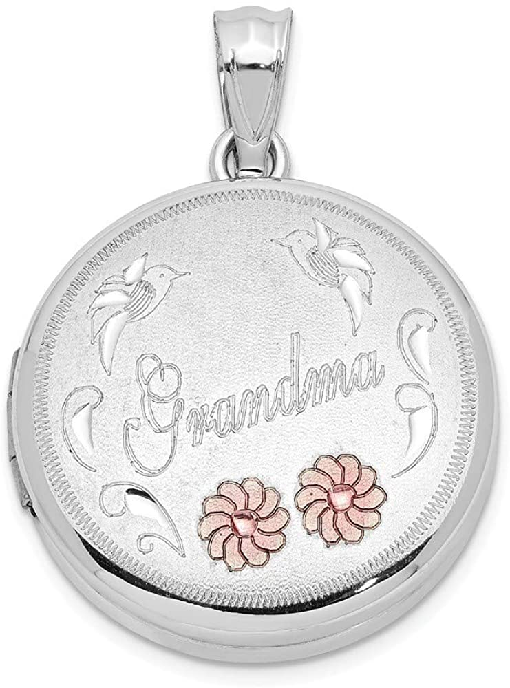 925 Sterling Silver 20mm Brushed and Polished Enameled Grandma Round Photo Locket Pendant Necklace Jewelry Gifts for Women