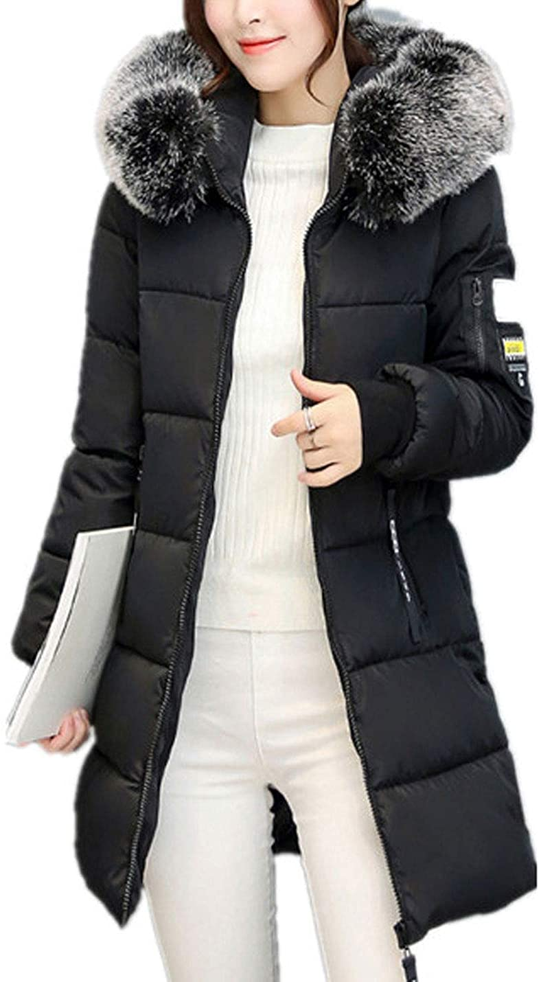 Flygo Womens Winter Long Puffy Down Jacket Parka Coats with Fur Hooded