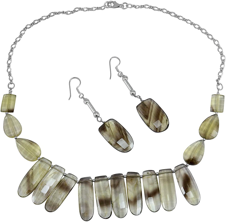 Silvesto India Handmade Jewelry Manufacturer Strand of Large Bio Lemon Quartz 925 Sterling Silver Necklace With Earring Set Jaipur Rajasthan India