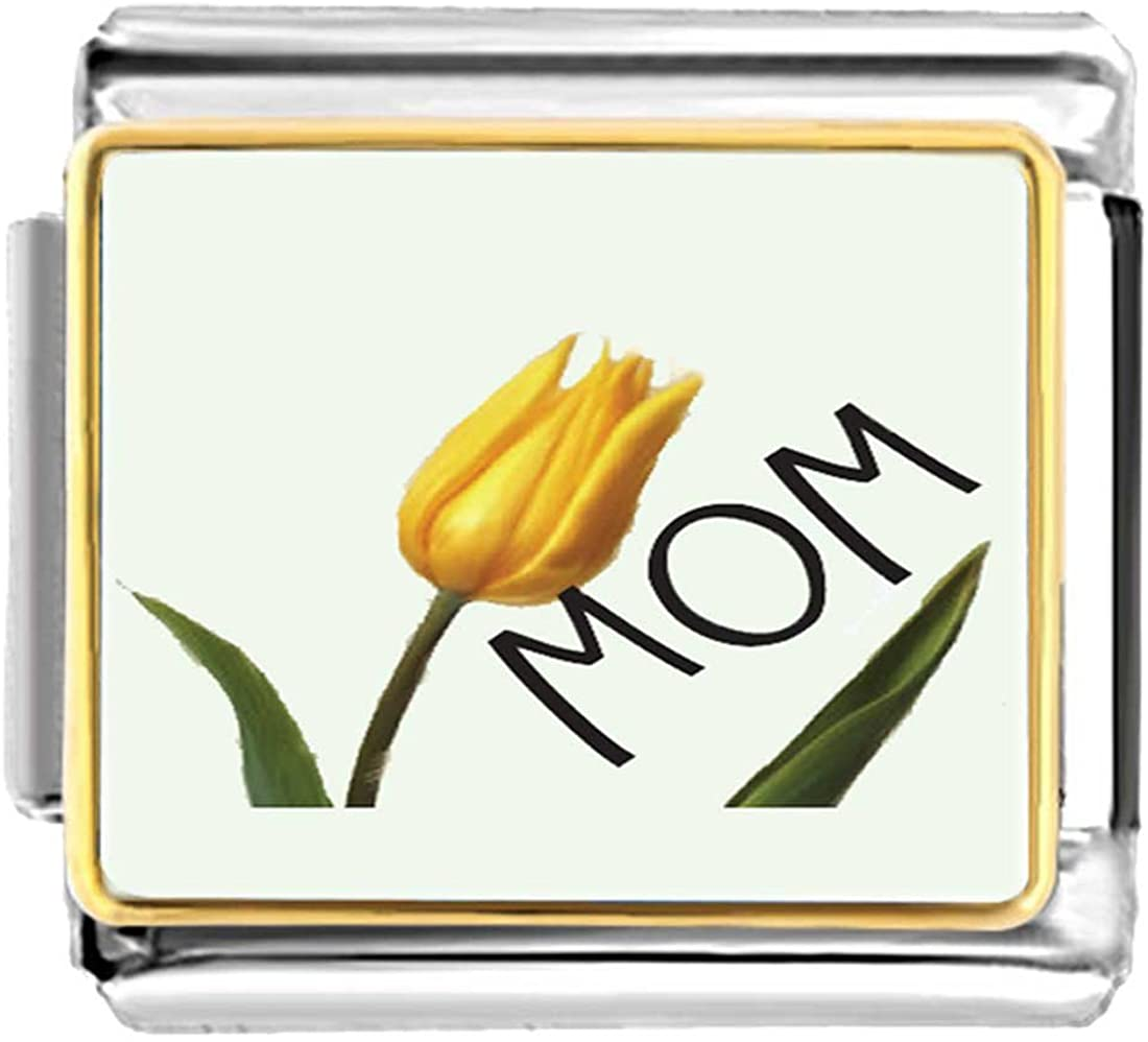 GiftJewelryShop Gold Plated November Yellow Tulip and Mom Bracelet Link Photo Italian Charm