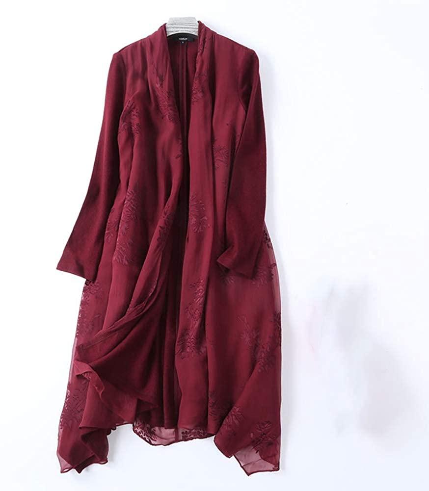 Autumn and Winter Women's Fashion Wool Stitching Silk Scarf Collar Woolen Coat Long Coat