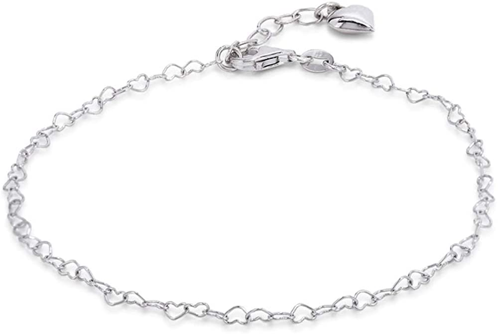 Vanbelle Rhodium Plated 925 Sterling Silver Anklet with Dangling Heart Charm for Women and Girls