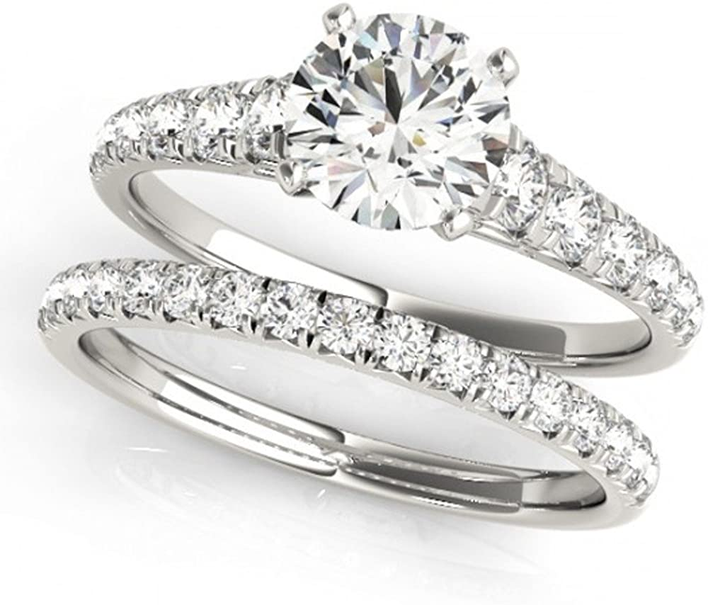 TVS-JEWELS Real 925 Sterling Silver White Gold Plated Ladies Bridal Wedding Ring with Band Set