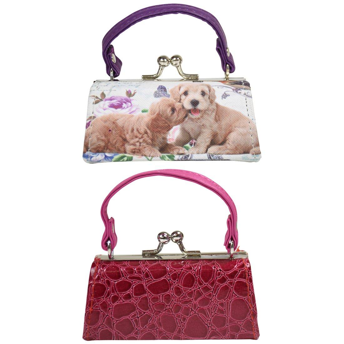 2 Lipstick Cases with Handles Mini Mahjong Coin Purse - Hot Pink Purple Crocodile Doggie