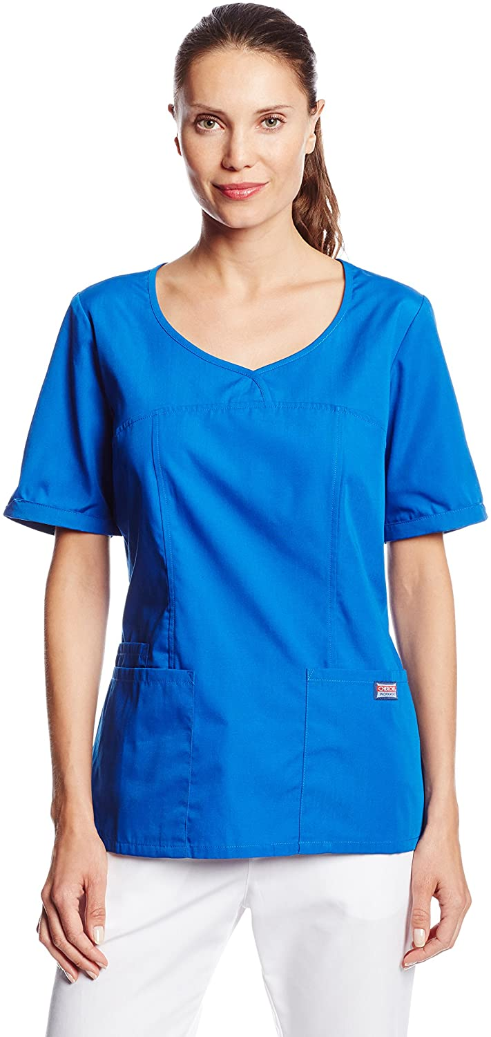 CHEROKEE Women's Workwear Scrubs V-Neck Top, Royal, XX-Small