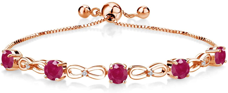 Gem Stone King 2.79 Ct Red Ruby G/H Lab Grown Diamond 18K Rose Gold Plated Silver Women Infinity Adjustable Tennis Bracelet