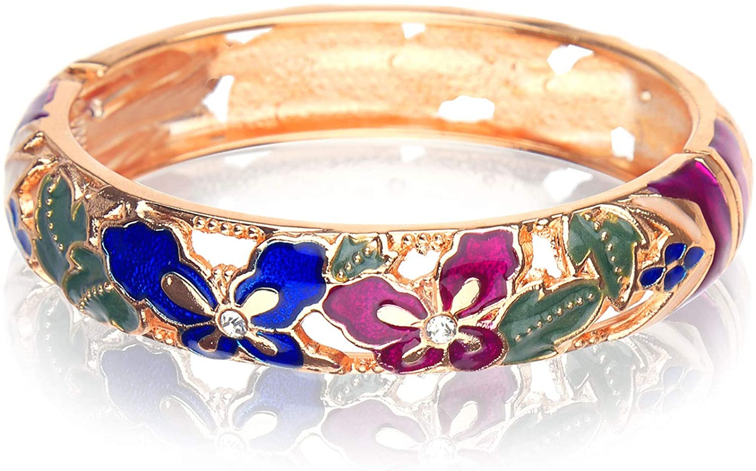 DOSBOO Butterfly Bangle Gold Hinge Indian Cuff Bracelets Enamel Jewelry Flower Craft With Gift Box