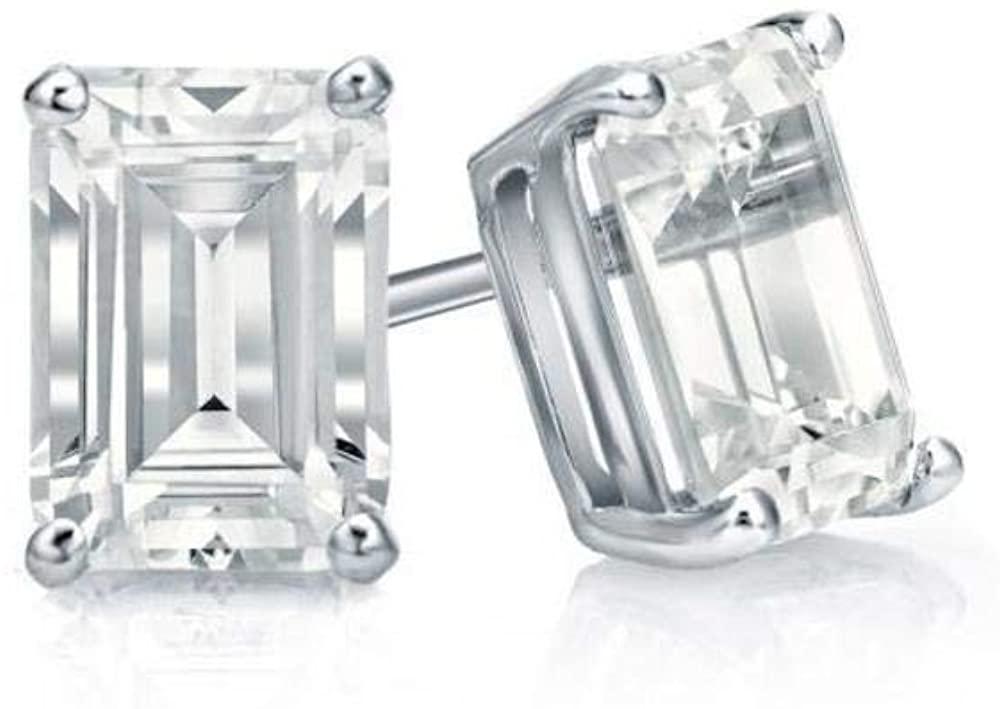 4.00 Ct Emerald Cut Earrings Studs Real 14K White Gold Brilliant Basket Screw Back