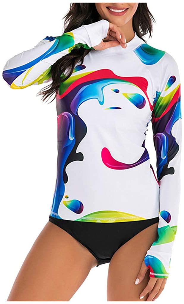 Feternal Womens Long Sleeve Rashguard Swimsuit Sport Swimwear Tankini Set