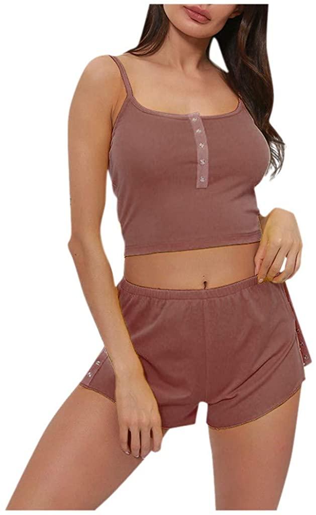 Adeliber Sexy Casual Suspenders Shorts Suit Underwear Pajamas Home Leisure Suit