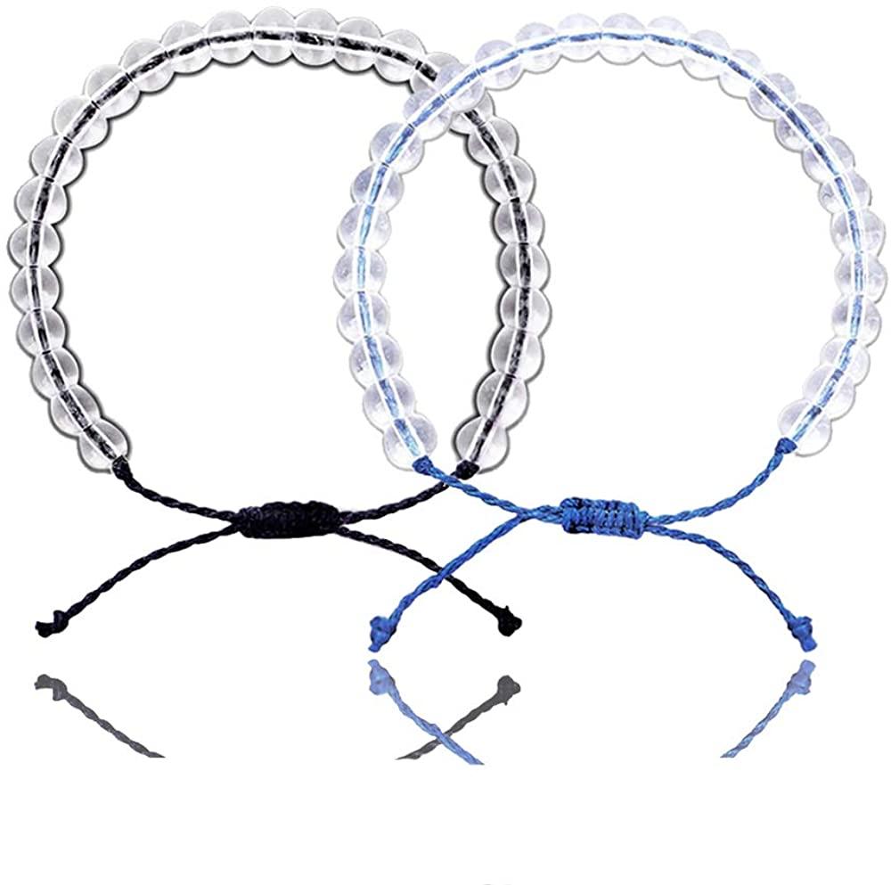 VANGETIMI 2PCS Transparent Bead Ocean Bracelets Adjustable Waterproof Crystal Bracelet Set Handmade Weaving Rope Friendship Jewelry for Women Men