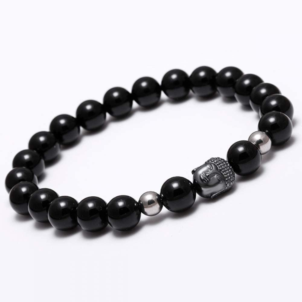 DJPP Bright Black Bracelet Natural Stone Bead Buddha Bracelet Men Onyx Tiger Eye Stone Bracelets for Women Bracelet Attend Parties and Give Their Friends The Best Gift.