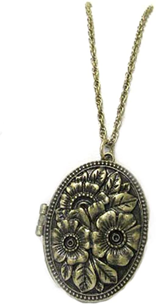 Silver Insanity Vintage Oval Rose Scent Aroma Locket Pendant with 30