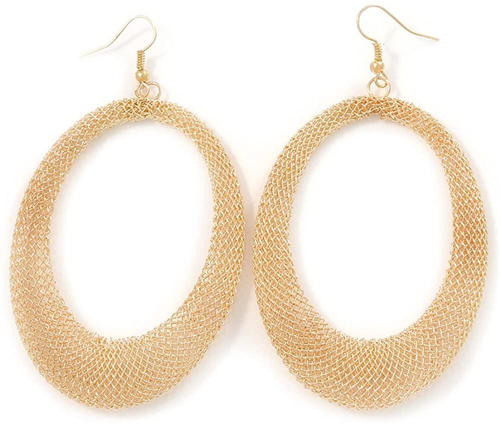 Large Gold Tone Mesh Oval Hoop Earrings - 90mm L