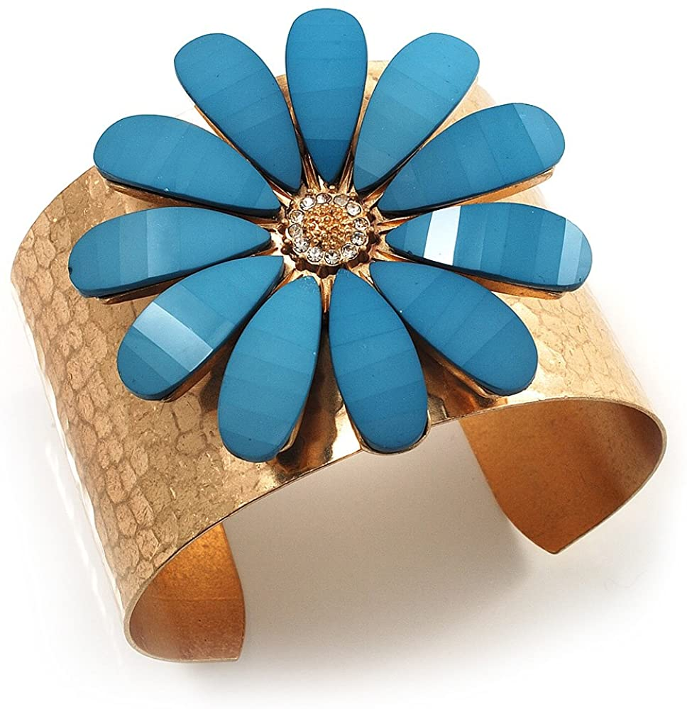Avalaya Wide Floral Hammered Gold Tone Cuff Bangle (Light Blue)