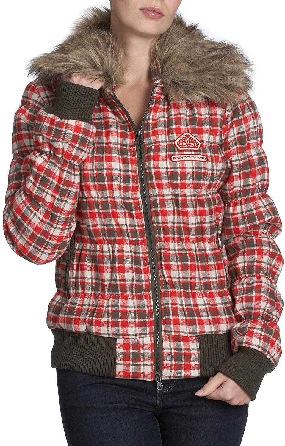 Fornarina Womens Jacky Plaid Fur Collar Zip Up Coat Sz Small Red/Multi
