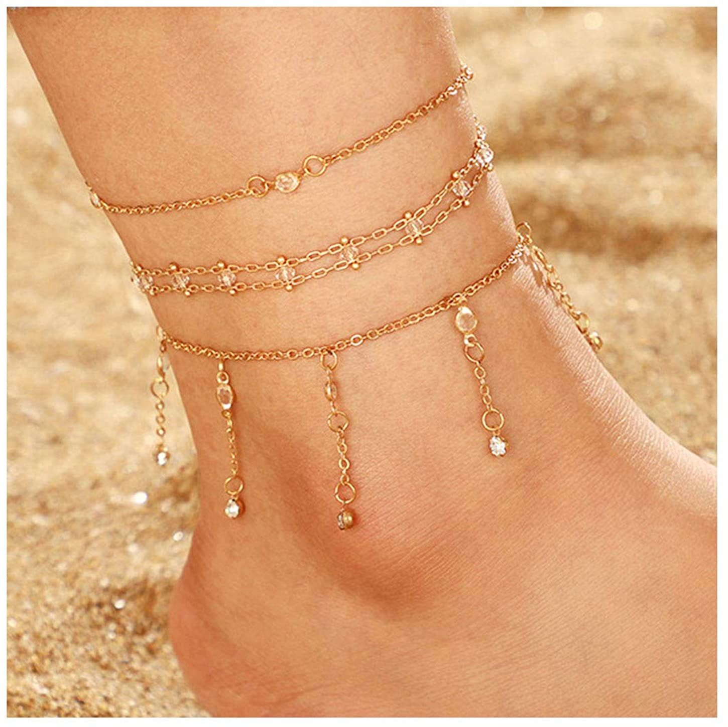 deladola Boho Anklets Bracelet Gold Crystal Tassel Layered Pendant Ankle Bracelets Beads Beach Foot Chains Jewelry for Women and Girls(3 PCS)PCS)