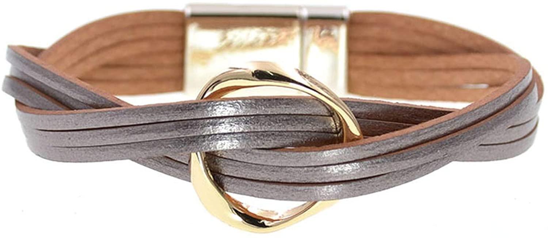 18 Colors charm Leather Bracelets For Women & Men Multiple Layers wrap Bracelets Couple gifts Jewelry,gray,22cm