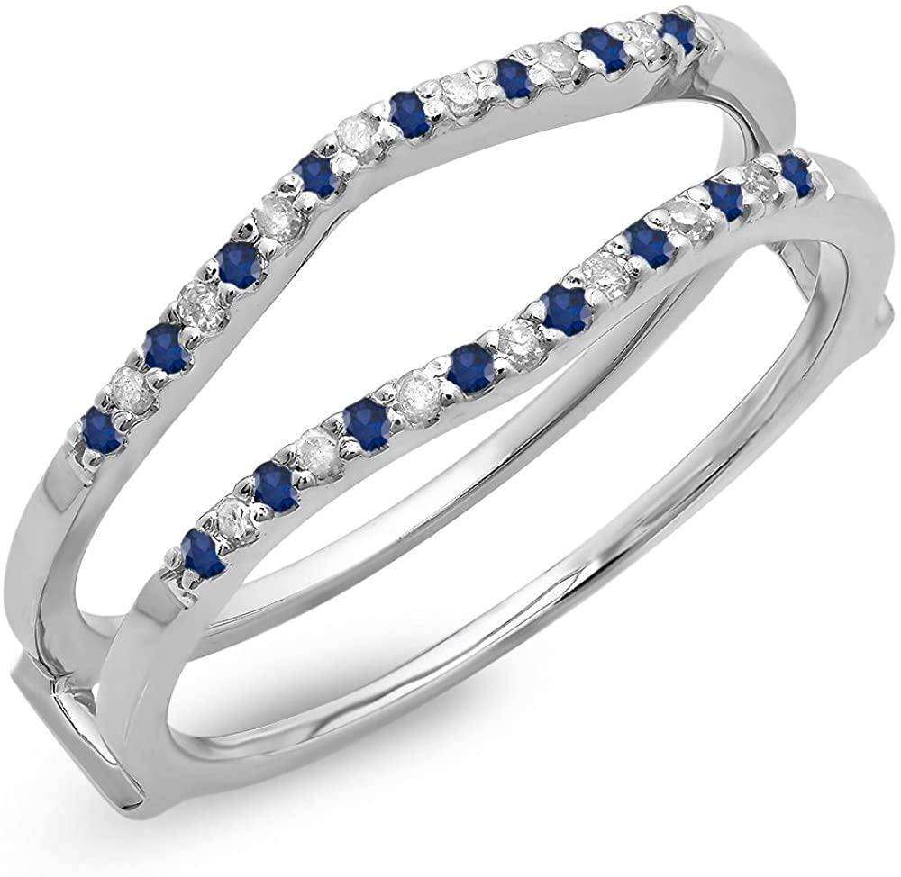 Dazzlingrock Collection 10K Gold Round Blue Sapphire & Diamond Ladies Anniversary Wedding Band Enhancer Guard Double Ring