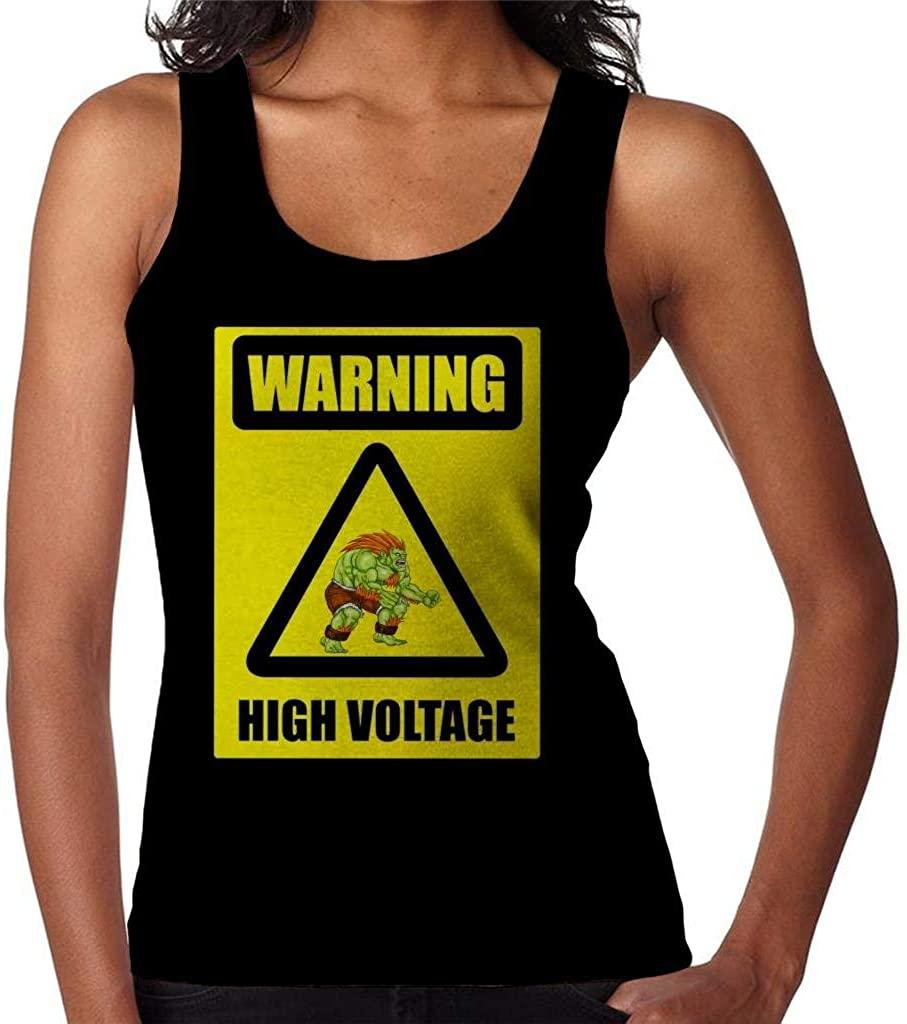 CHAOSHJU Warning High Voltage Blanka Street Fighter Women's Vest