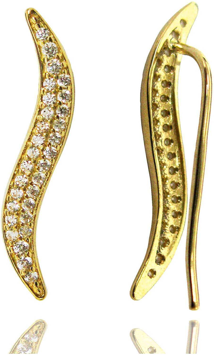 Ritastephens 14k Yellow or White Gold Wave Cubic Zirconia Ear Climber Crawler Earrings