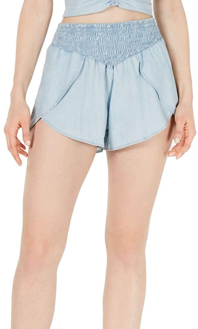 GUESS Women's Casual Shorts Light Medium Denim Smock Waist Blue M