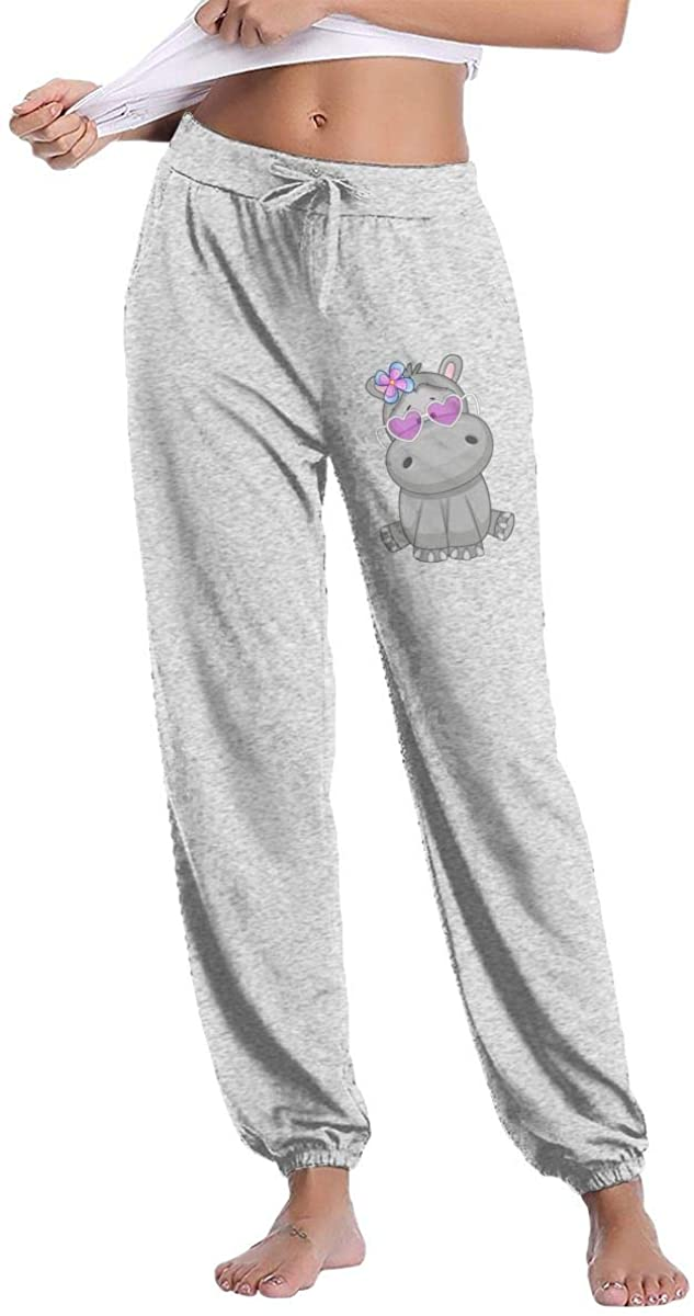 Futong Huaxia Women's Casual Sweatpants Hippo with Heart Glasses Fitness Training Jogger Pant