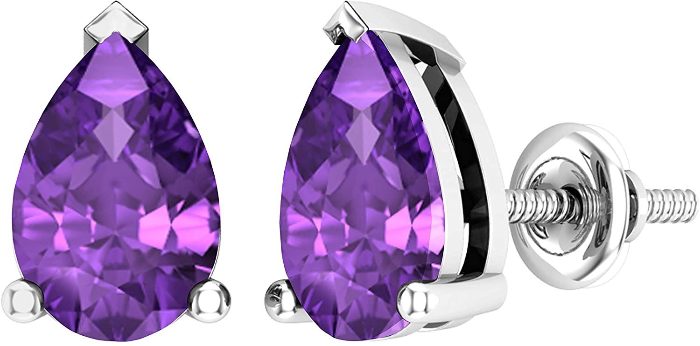 Dazzlingrock Collection 14K 7x5mm Each Pear Cut Ladies Solitaire Teardrop Stud Earrings, White Gold