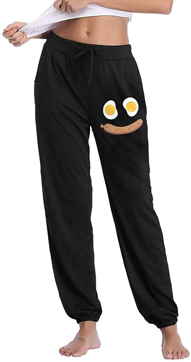 Hjgs Sausages and Eggs Women's Sweatpants Casual Cotton Jogger Pants with Pockets