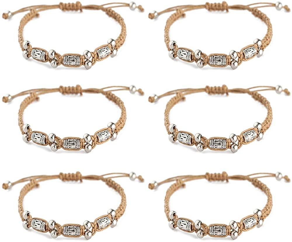kelistom 6PCS Vintage Braid String Bracelets for Men Women Teen Boys Girls Wax Rope Handmade Braided Woven Wrap Bracelets