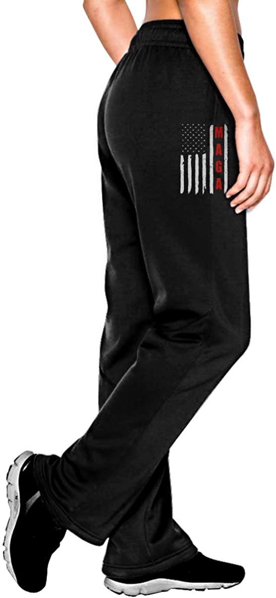 Vintage American Flag MAGA Women Jogger Sweatpants Drawstring Waist Yoga Pants with Pocket