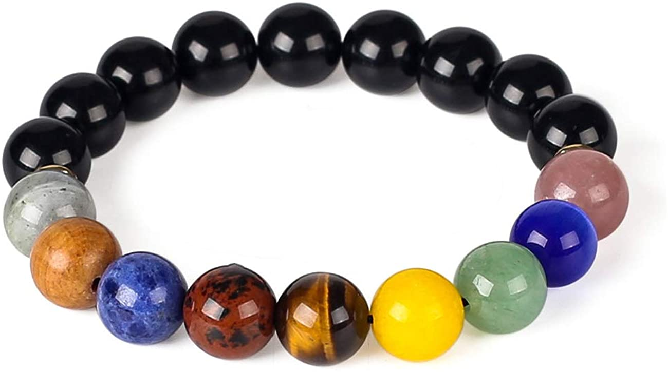 LANGING Adjustable 9 Planets Bracelet Natural Stones Energy Bracelet Beads Jewelry with Gift Box