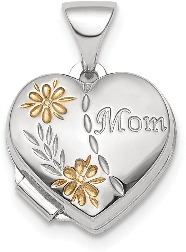 Solid 925 Sterling Silver and Gold-tone Flower Floral Mom Heart Locket Pendant - 13mm x 12mm