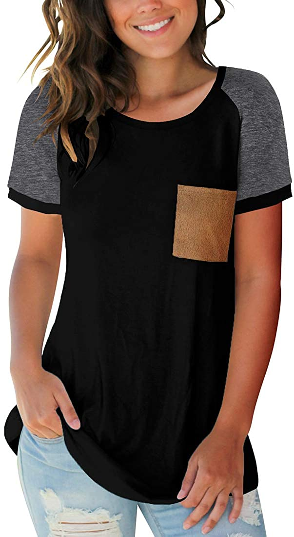 Sousuoty Womens Short Sleeve Tops Scoop Neck T Shirt Casual