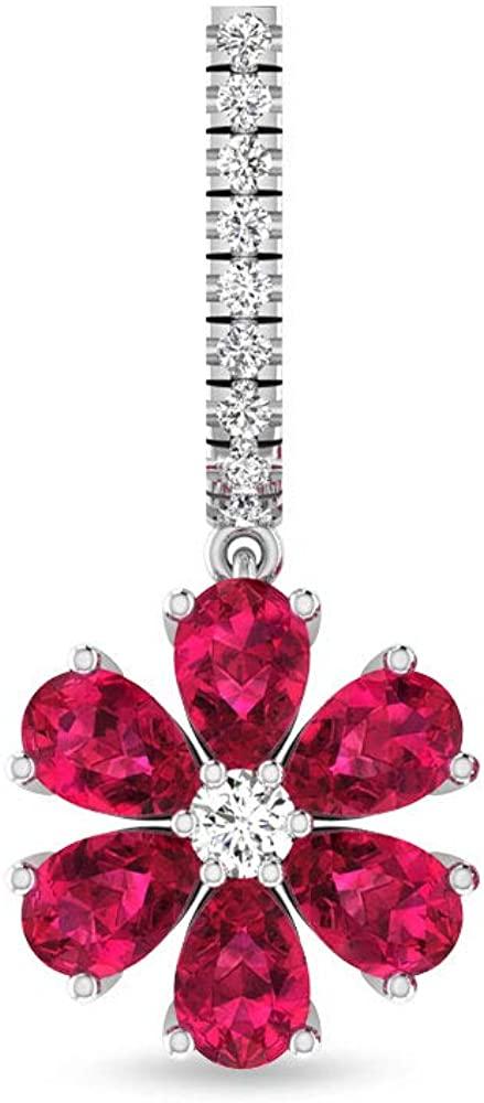 3.03CT Pear Shape Ruby Glass Filled IDCL Certified Moissanite Drop Earring, Antique Red Gemstone Flower Cluster Half Hoop Earring, Women Birthday Gift, Screw Back