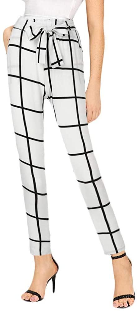 Adeliber Pants for Women Womens Pants Fashion Elastic Waist Bandage High Waist Plaid Pencil Pants
