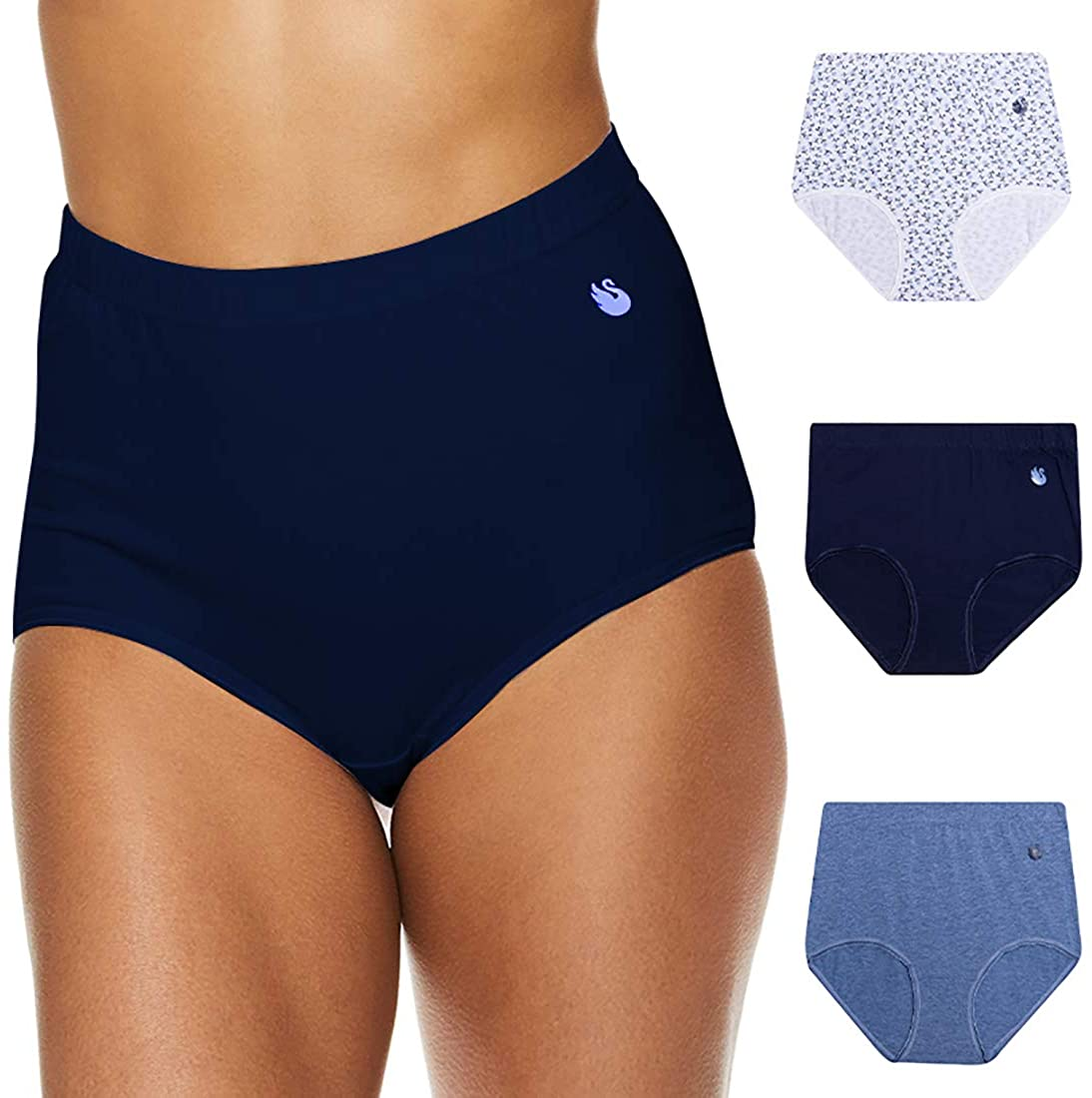 Gloria Vanderbilt Womens High Waisted Underwear Tagless Full Coverage Cotton Brief Panties for Women
