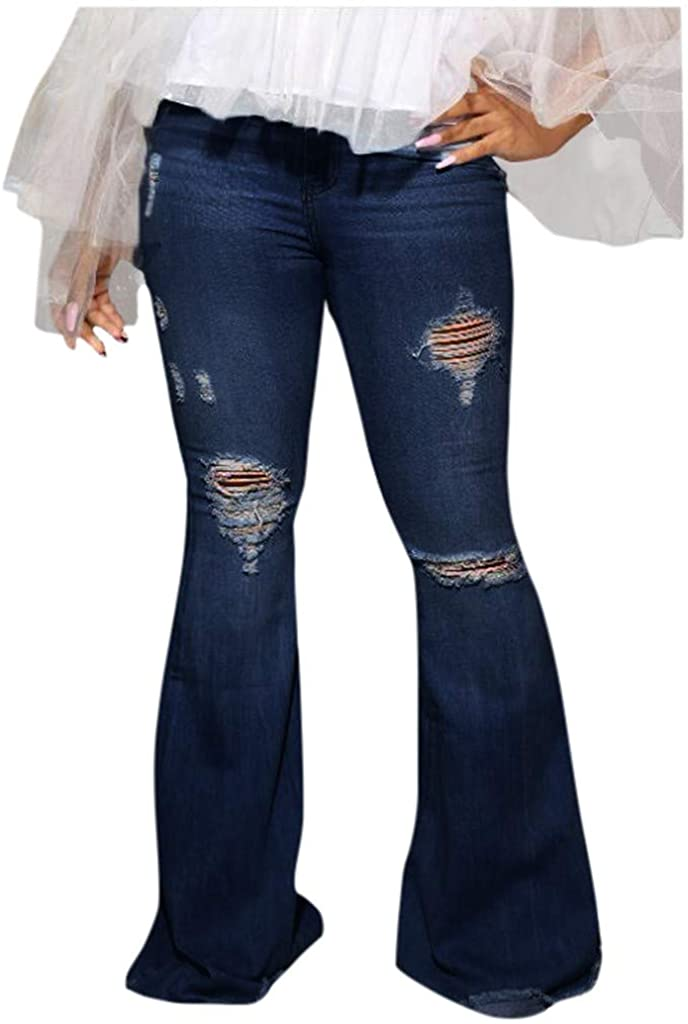LiLiMeng 2019 Women's Casual Plus Size Button Down Stretchy Straight Leg High Waisted Denim Slim Jeans Flare Trousers (Blue, M)