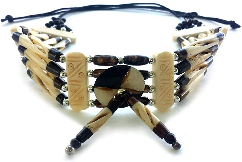 Handmade 4 Line Buffalo Bone Hairpipe Traditional Tribal Choker Necklace