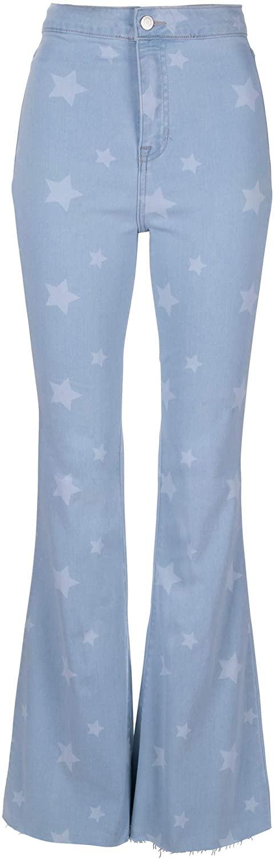 Glam and Gloria Womens Light Blue Denim High Rise Star Print Flare Jeans Bell Bottom Pants