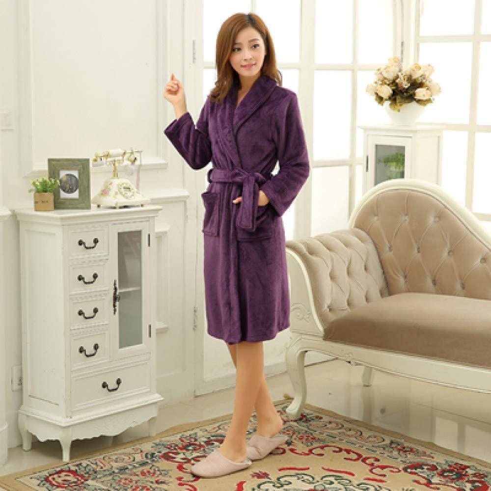 llwannr Bathrobe Robe Nightgown Sleep,Womens Men Luxury Grey Kimono Bath Robe Long Silk Flannel Coral Bathrobe Women Bridesmaid Robes Dressing Gown,Women Purple,S
